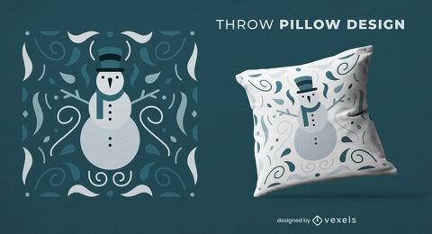 Snowman winter season throw pillow design