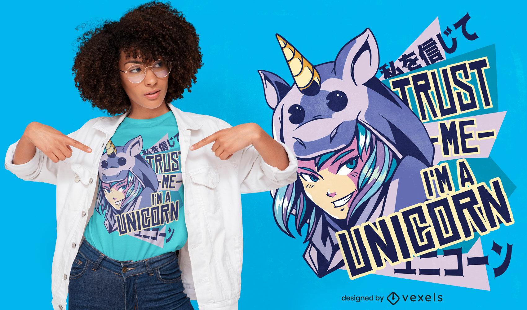 Garota anime com design de camiseta fantasia de unicórnio