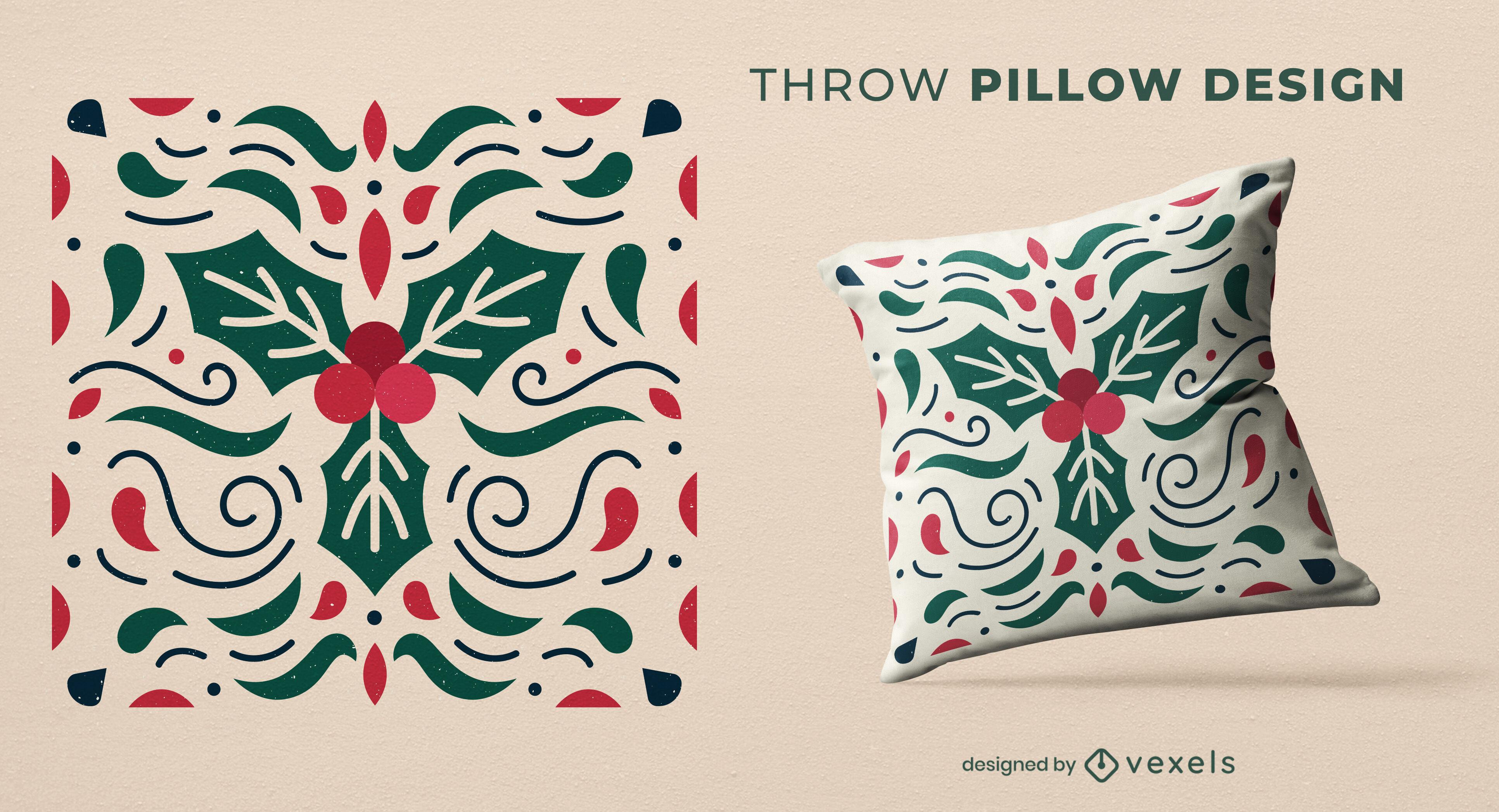 Mistletoe winter throw pillow design