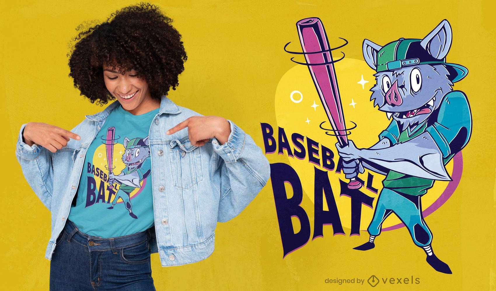 Animal murciélago jugando diseño de camiseta de béisbol.