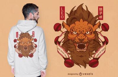 Japanese leo zodiac sign t-shirt design