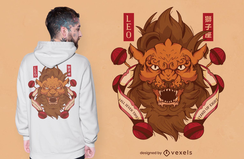 Diseño de camiseta de signo del zodiaco leo japonés