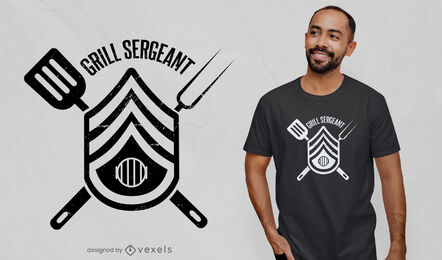 Diseño de camiseta con insignia de sargento Grill BBQ