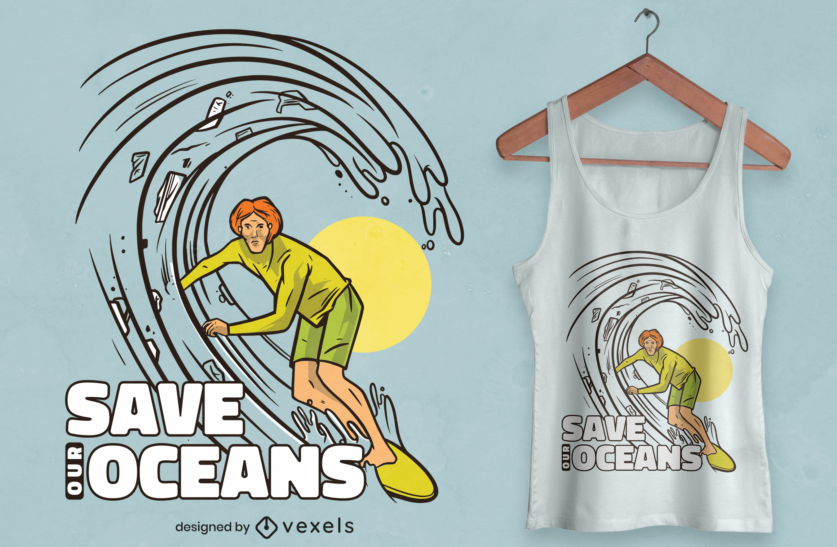 Diseño de camiseta de conciencia de contaminación de surf.