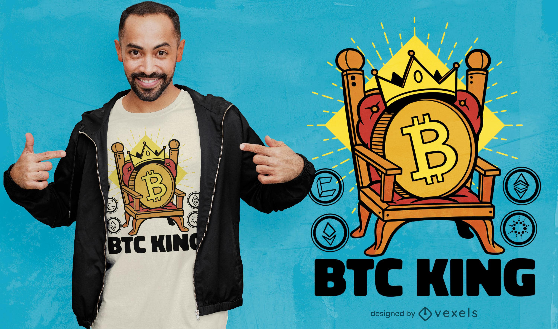 Design de t-shirt Bitcoin Crypto King