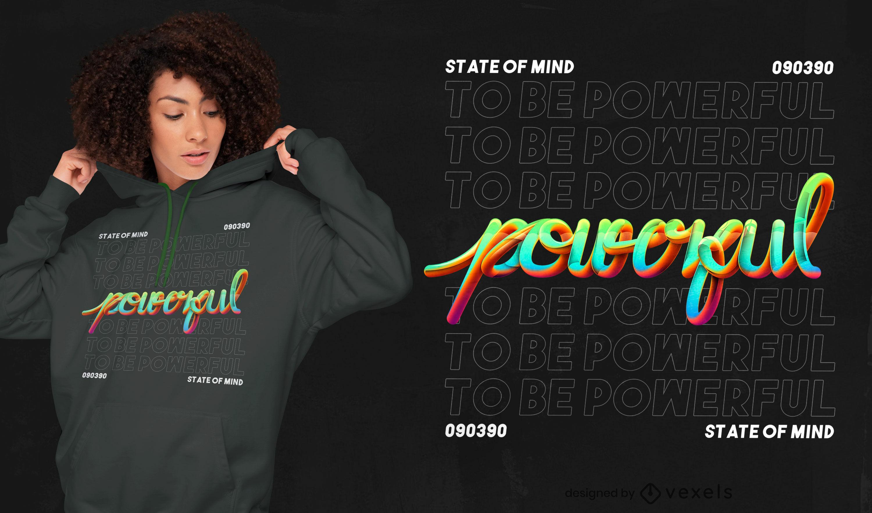 Design de t-shirt PSD com letras poderosas