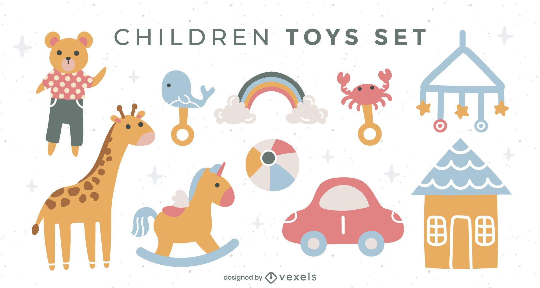 Conjunto plano de juguetes para bebés