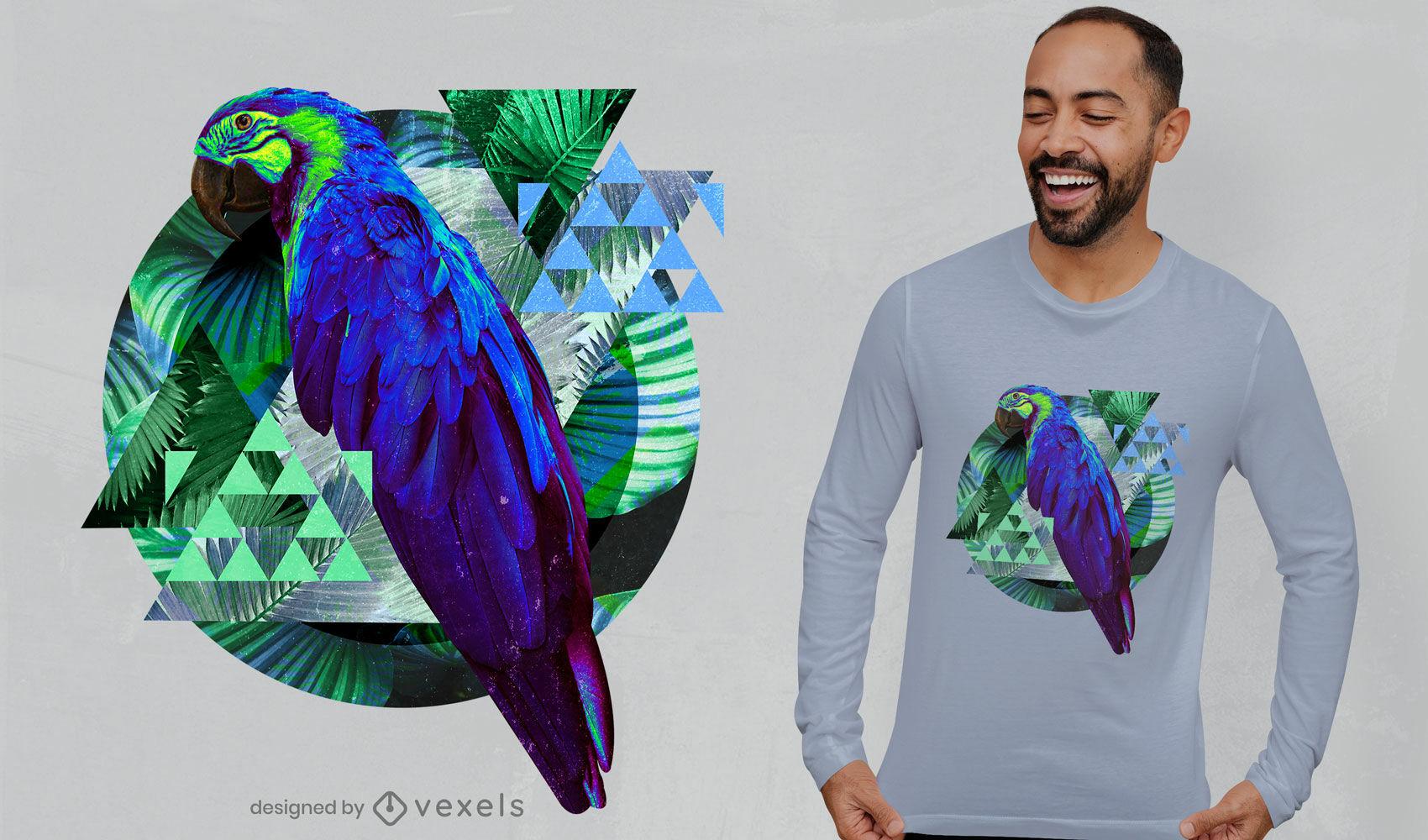Papagei mit geometrischen Elementen PSD-T-Shirt-Design