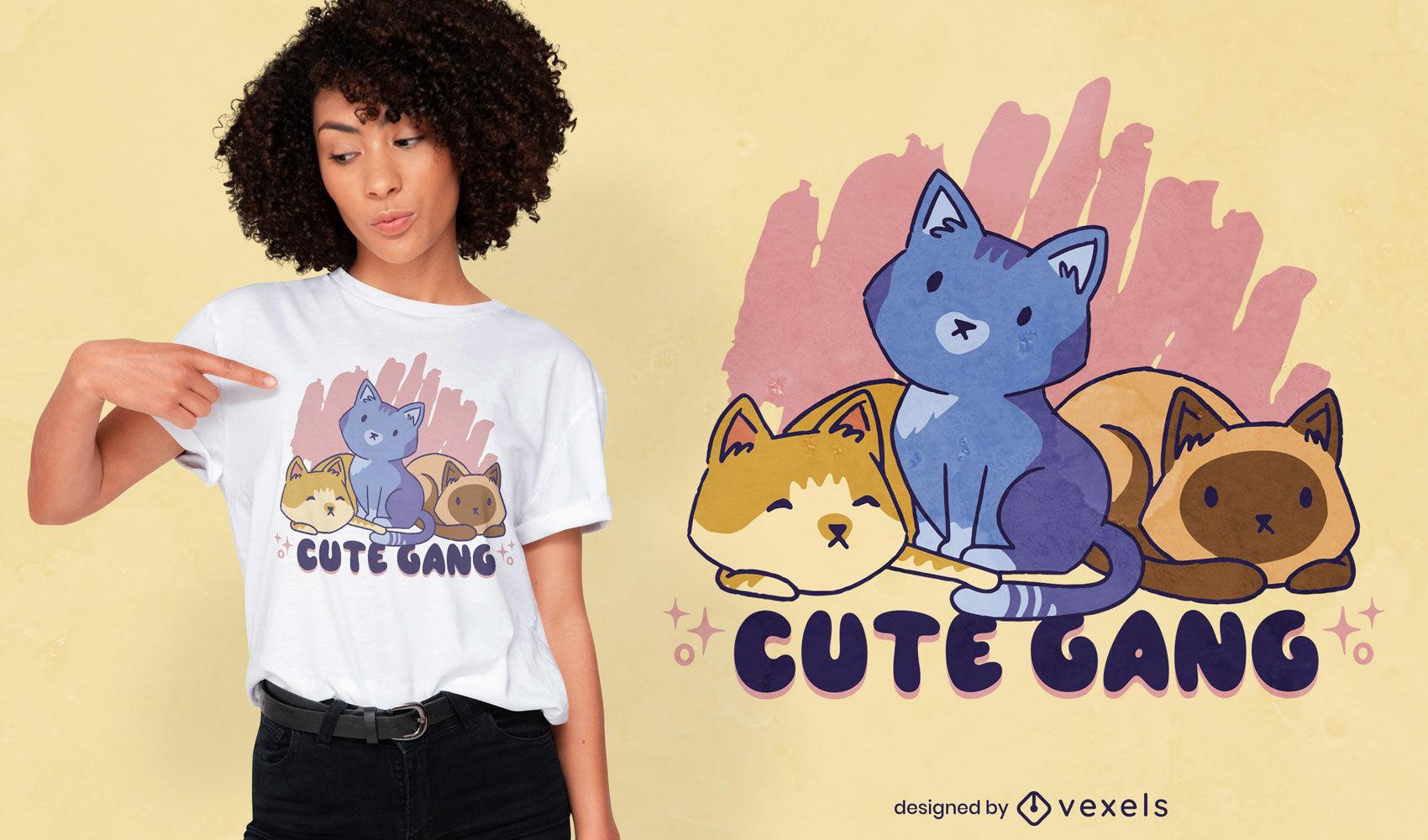 Dise?o de camiseta linda familia animal gato