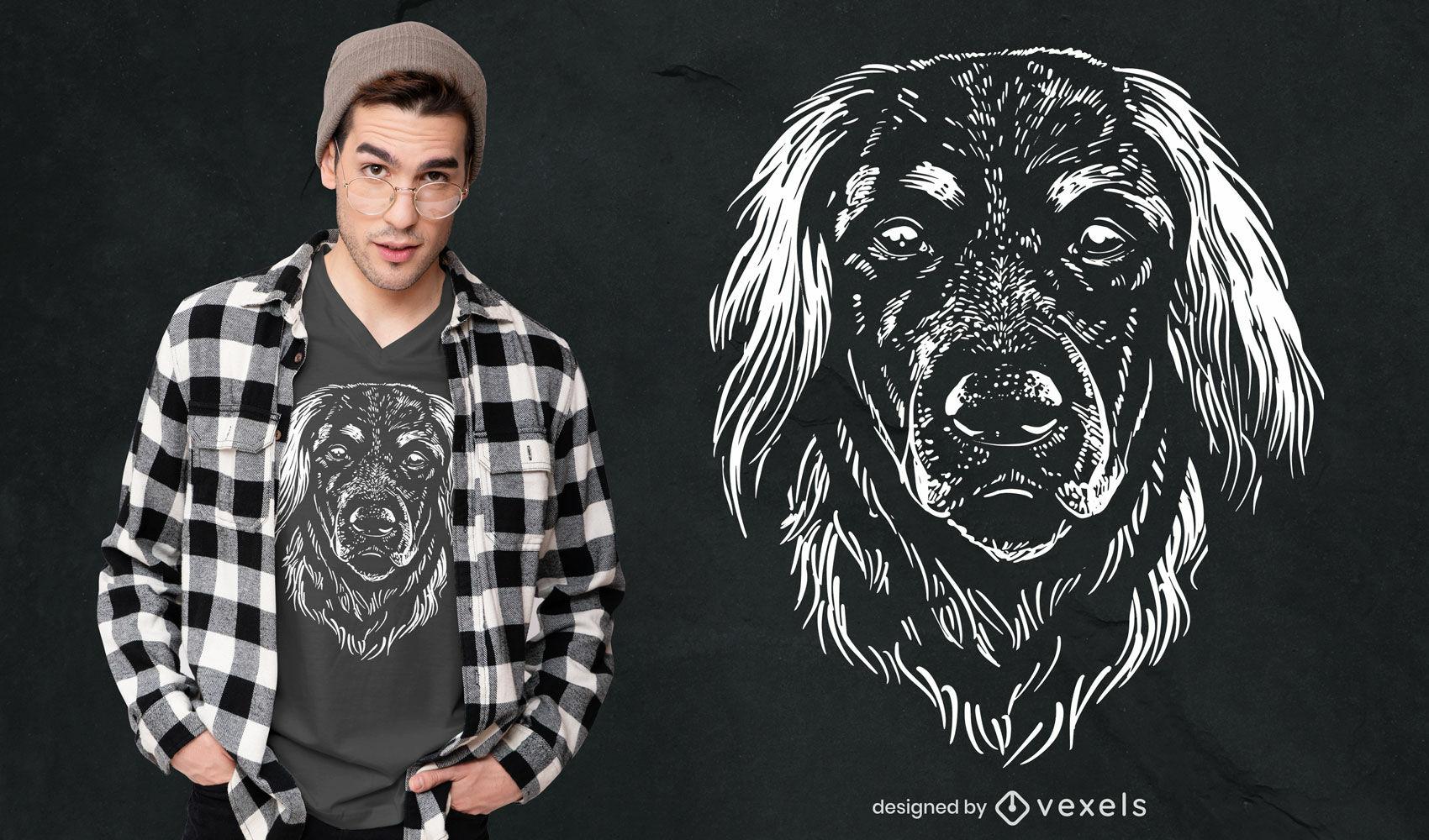 Diseño de camiseta dibujada a mano de raza de perro alemán