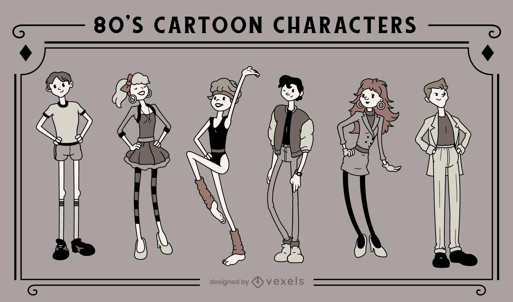 Personagens de desenhos animados retrô dos anos 80