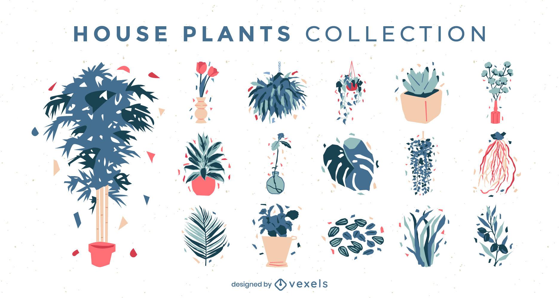 Conjunto de plantas e folhas semi-planas