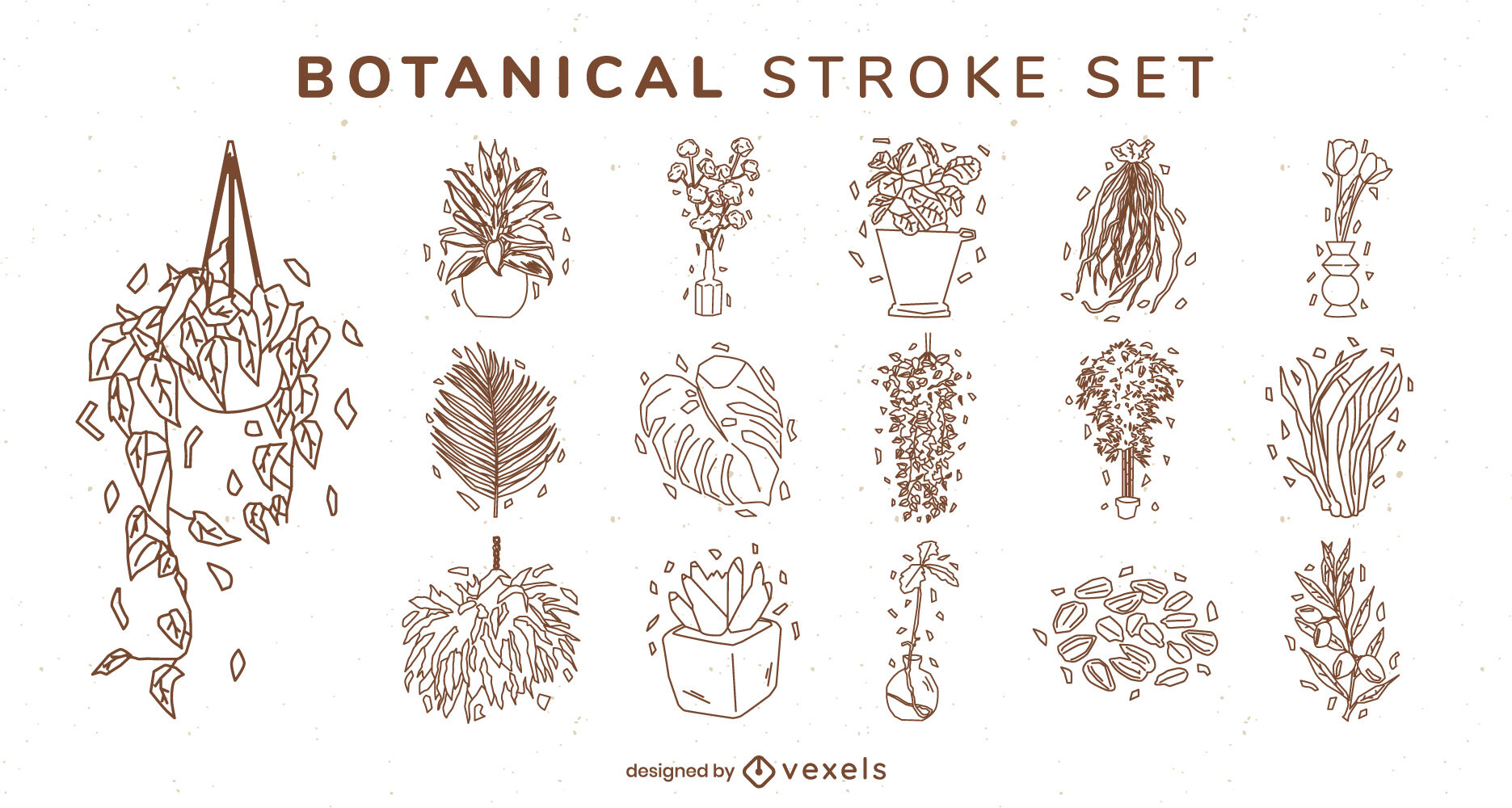 House plants and leaves stroke set