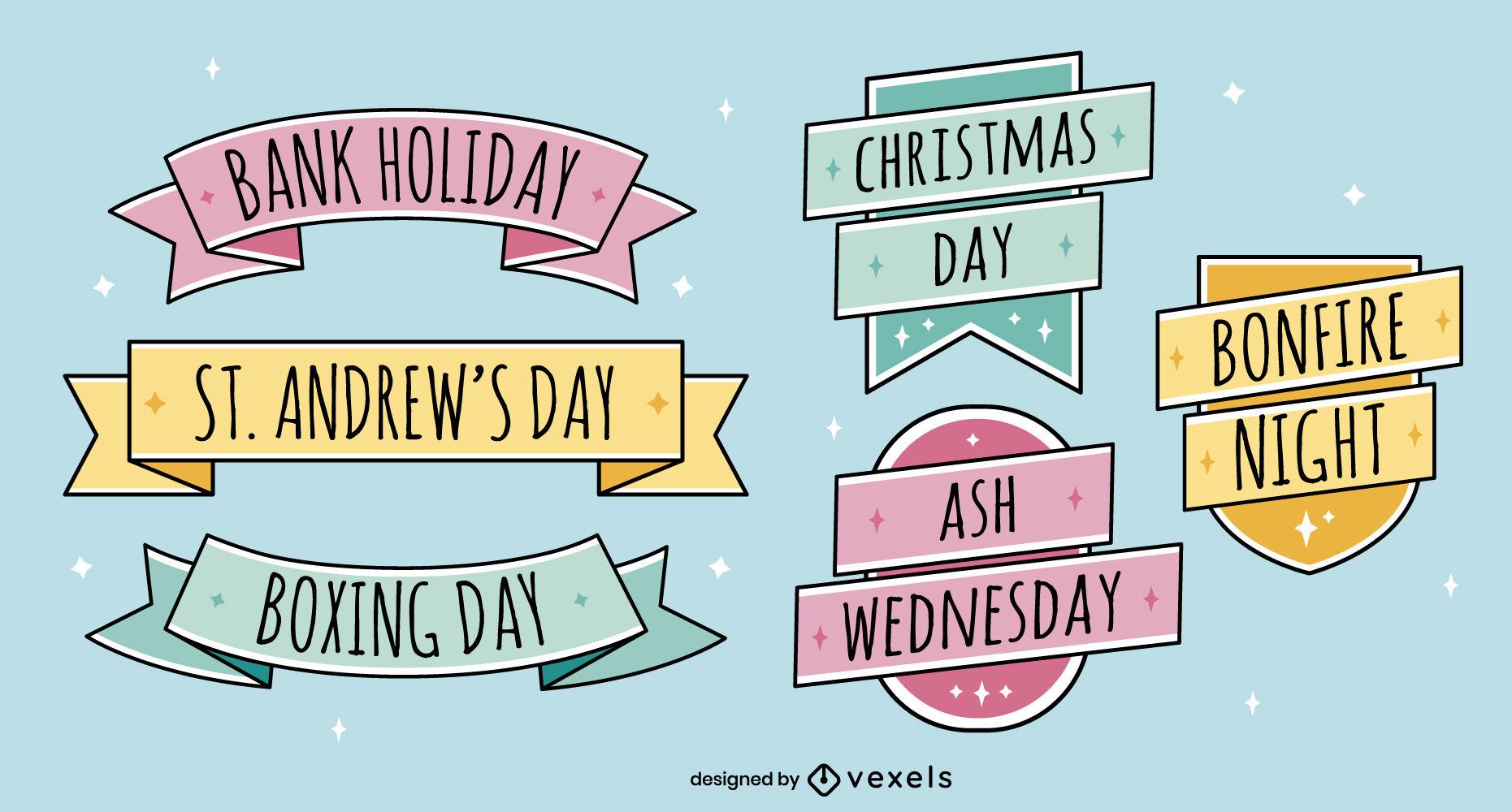 United kingdom holidays ribbon badge set