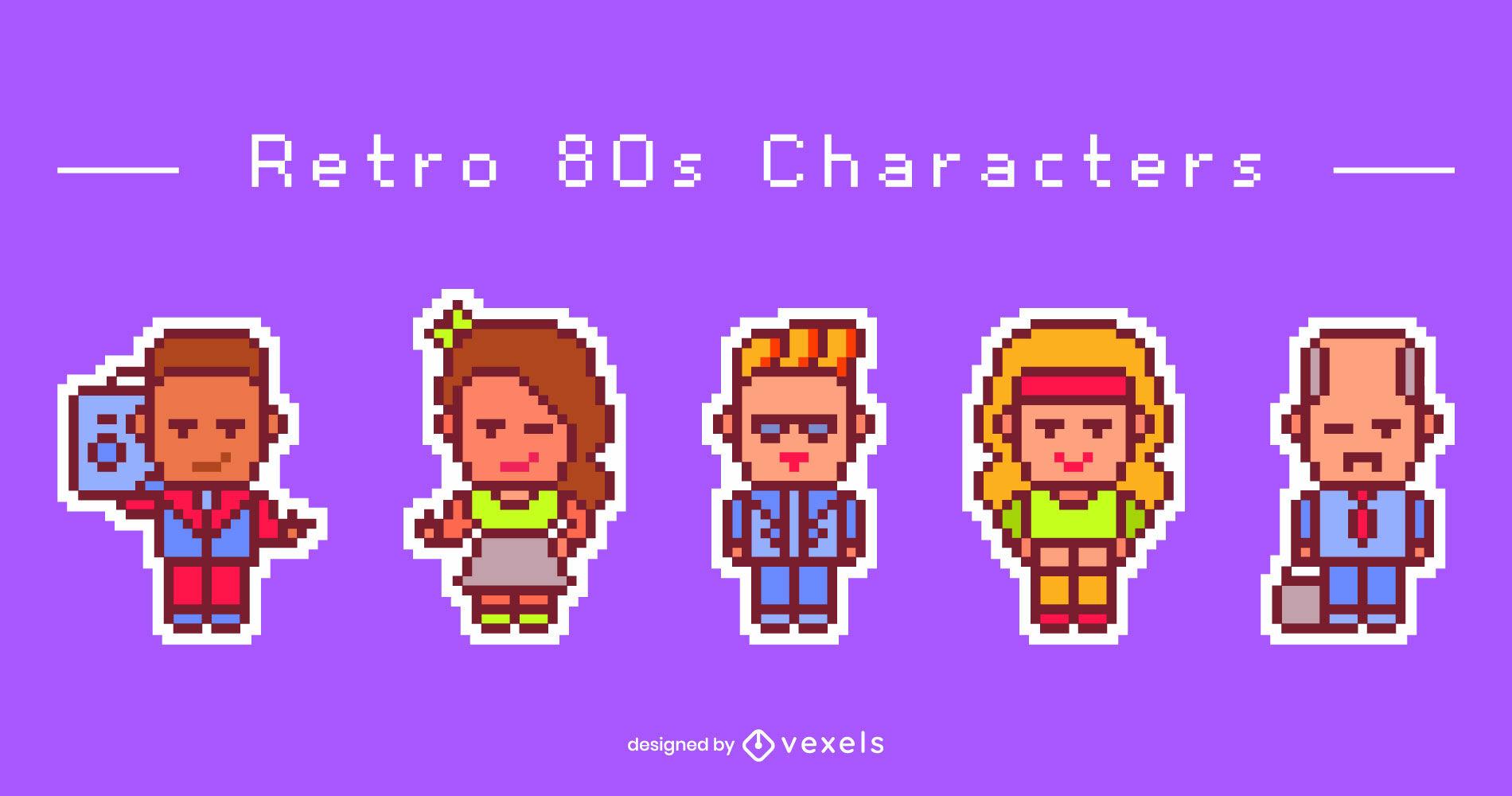 Charaktere des Retro-Pixel-Art-Sets der 80er Jahre