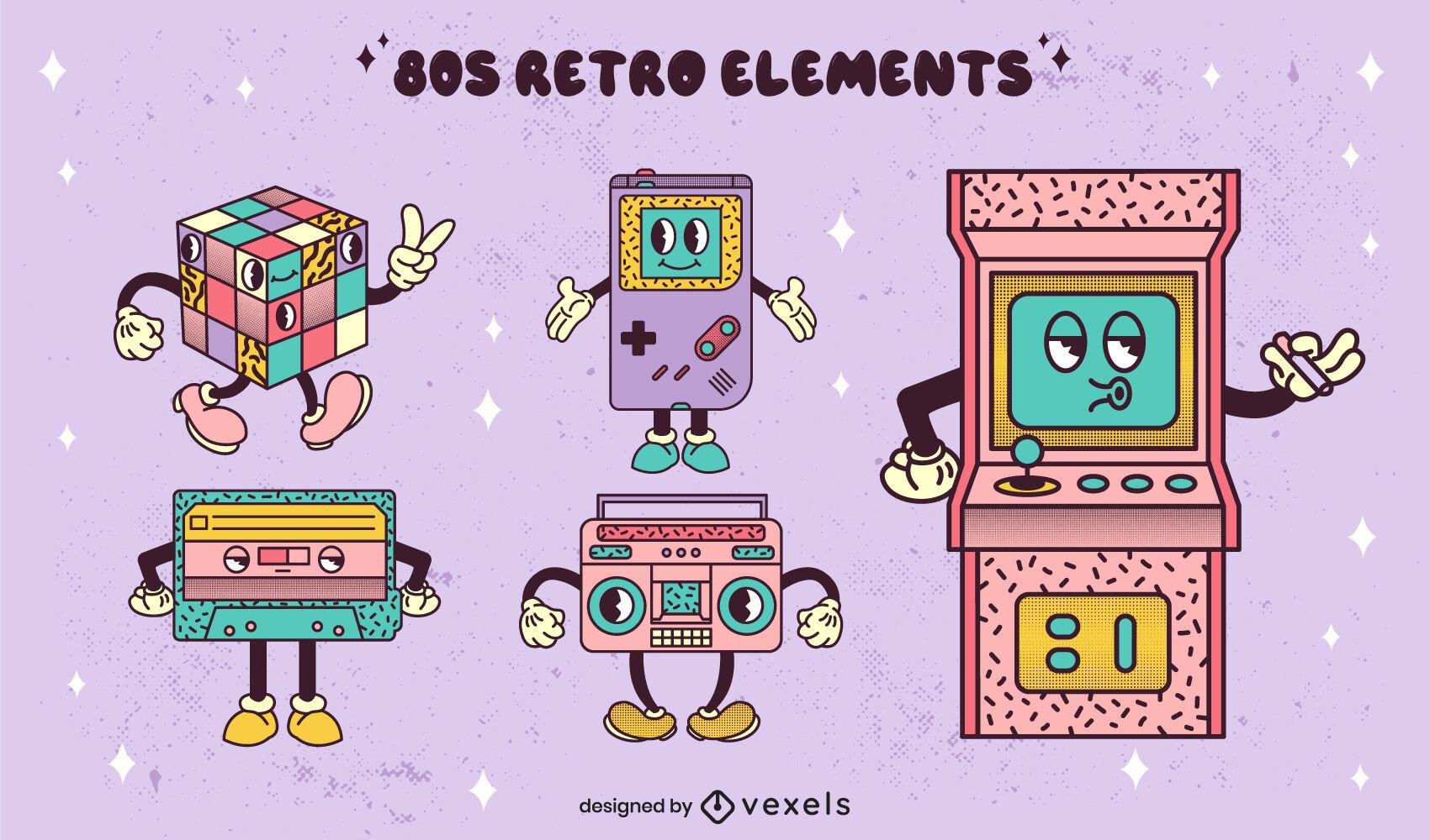 Personagens de jogos e tecnologia retro dos anos 80