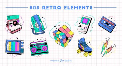 Fun 80's hobbies retro elements set