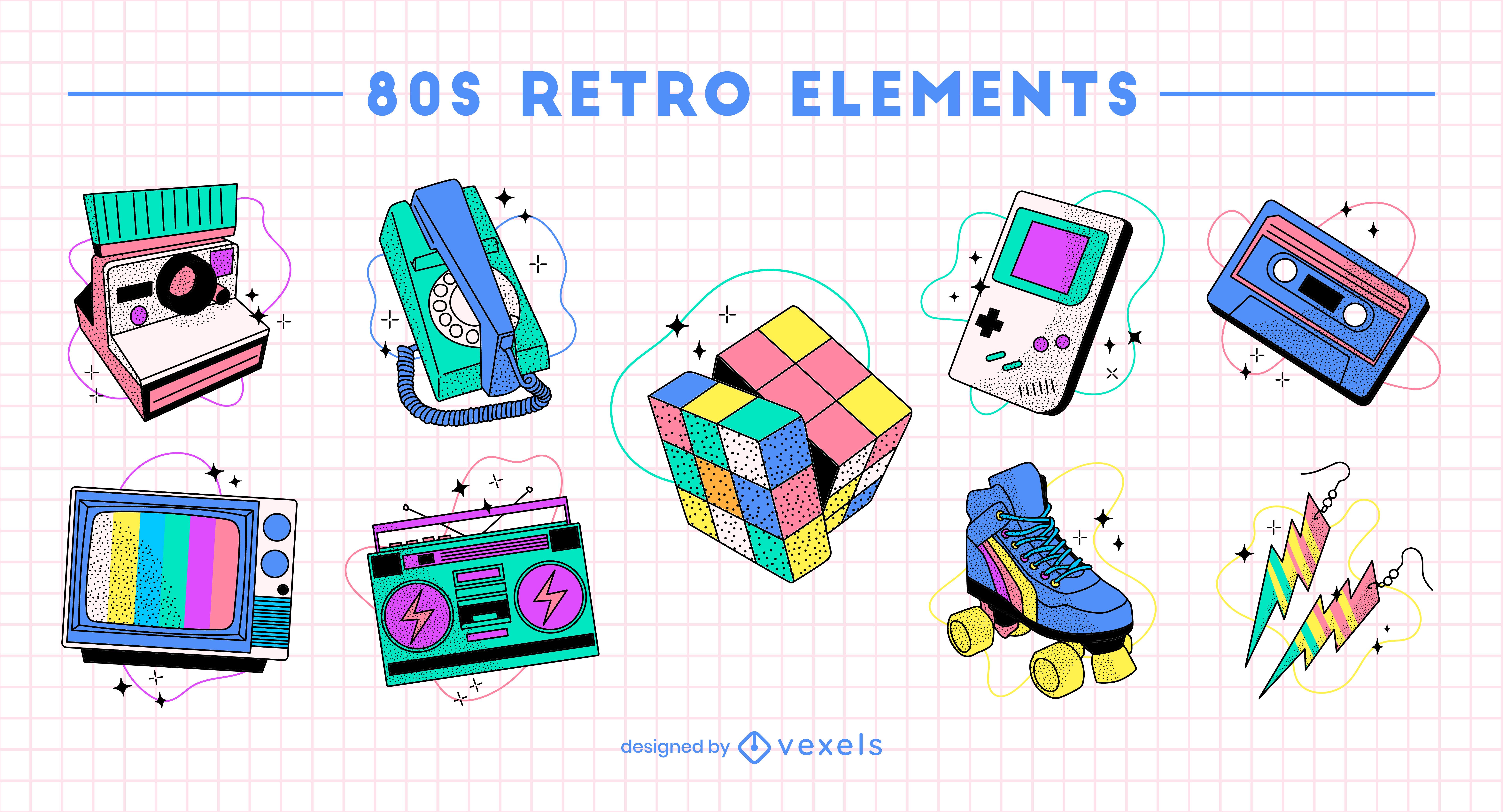 Divertido conjunto de elementos retro de pasatiempos de los 80.