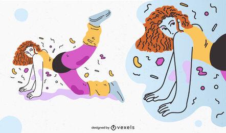 80's aerobic girl doodle character design