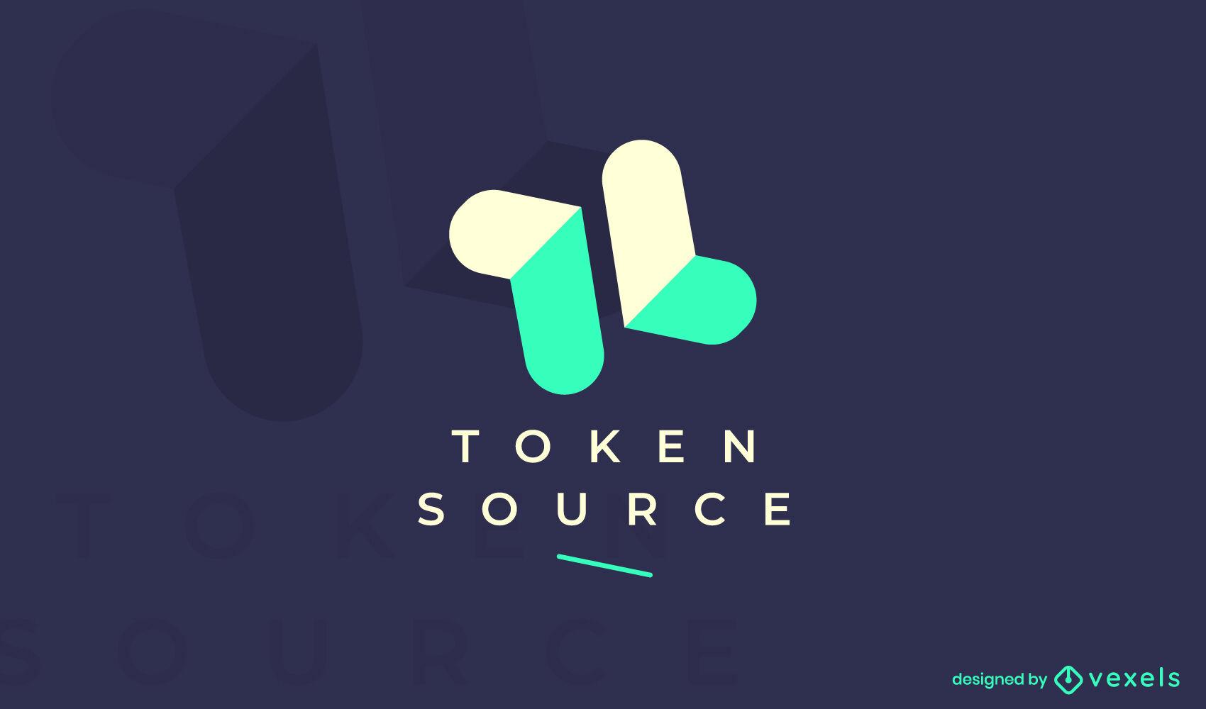 Cryptocurrency geometric shapes logo