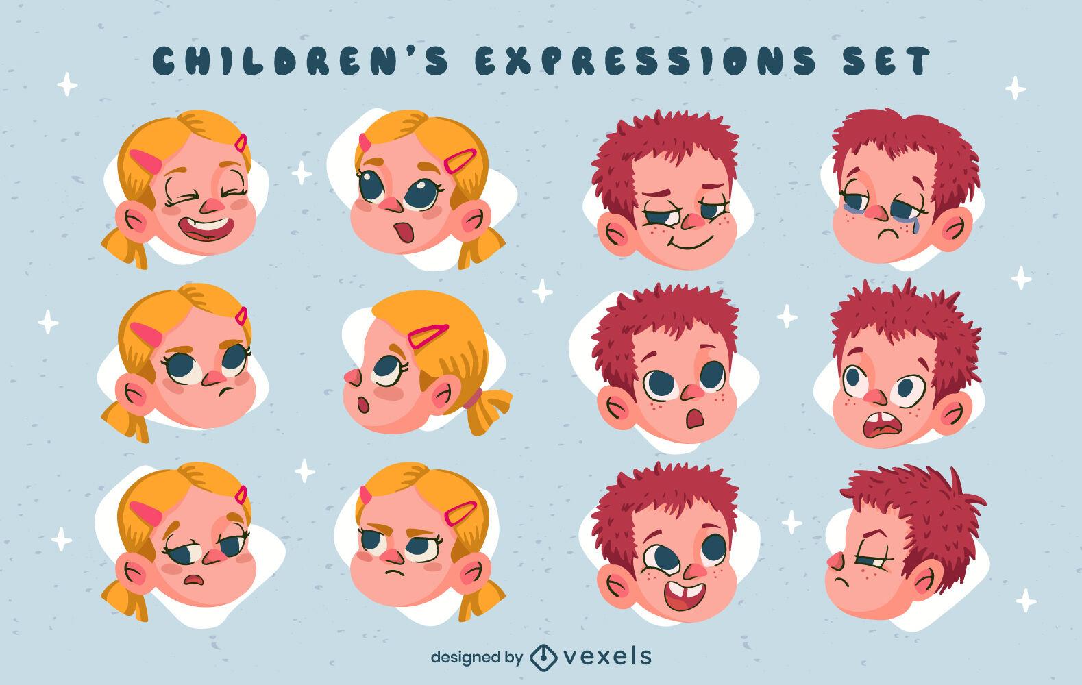 Children facial expressions set cartoon