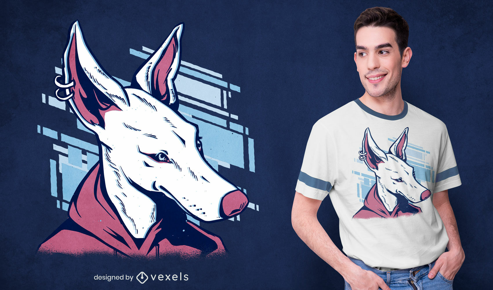 Modern dog with hoodie t-shirt design