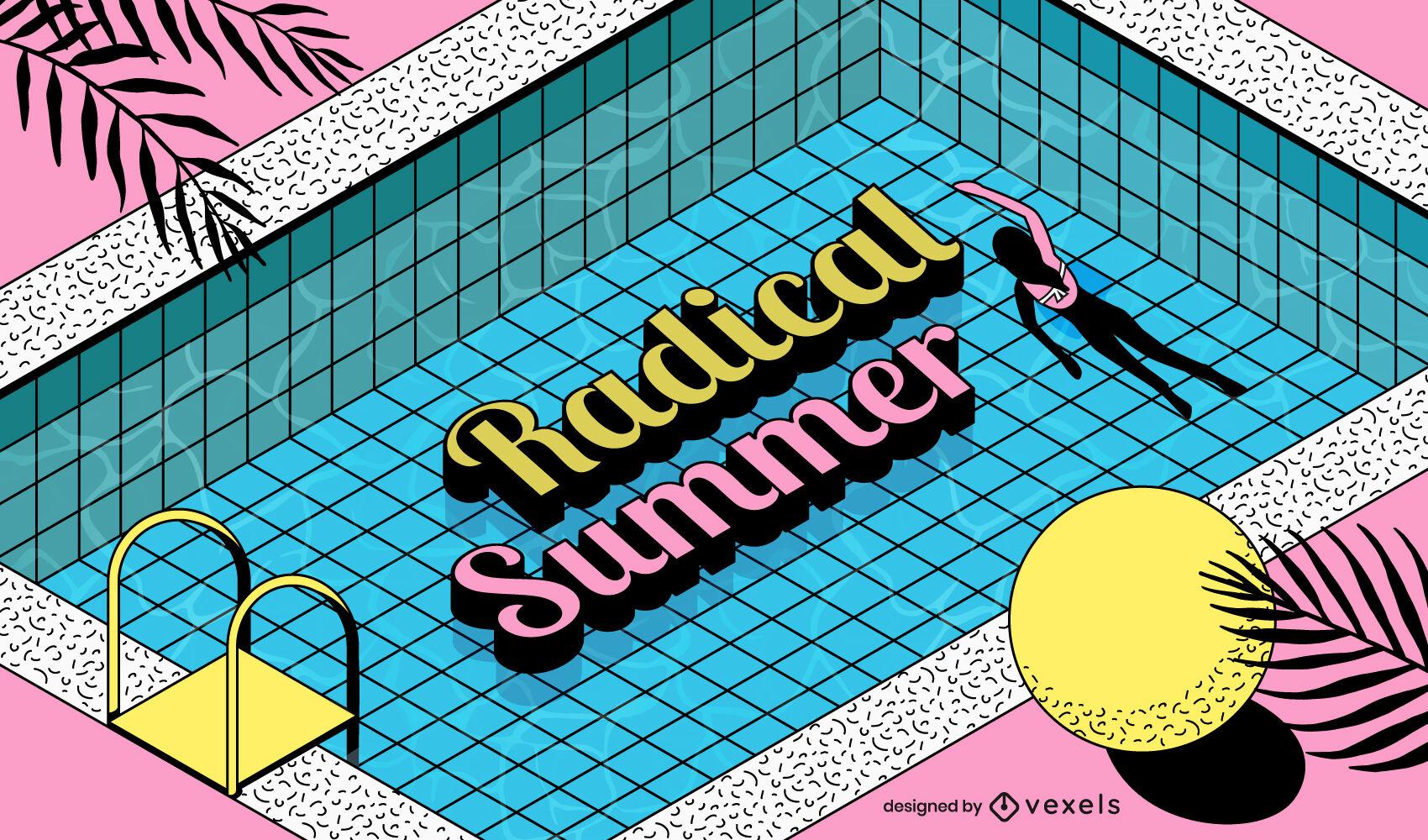 Girl swimming in pool summer illustration