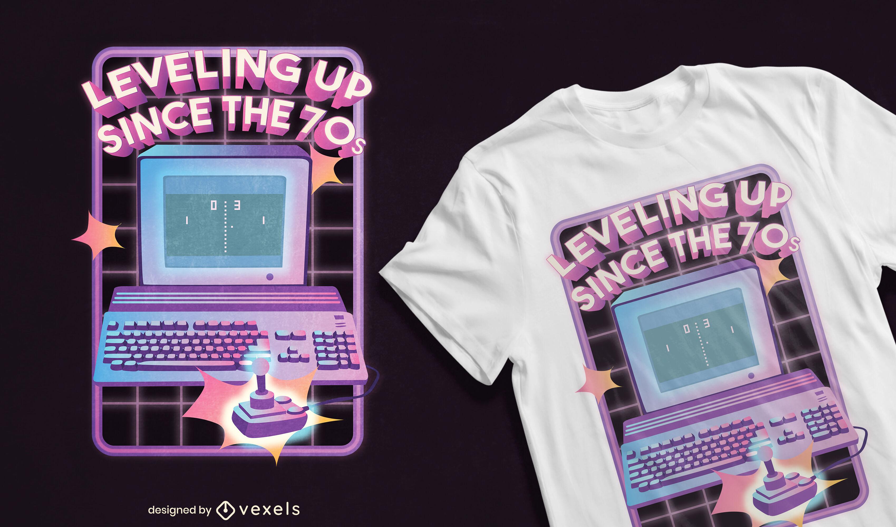 Design de camiseta retrô de videogame de computador dos anos 70