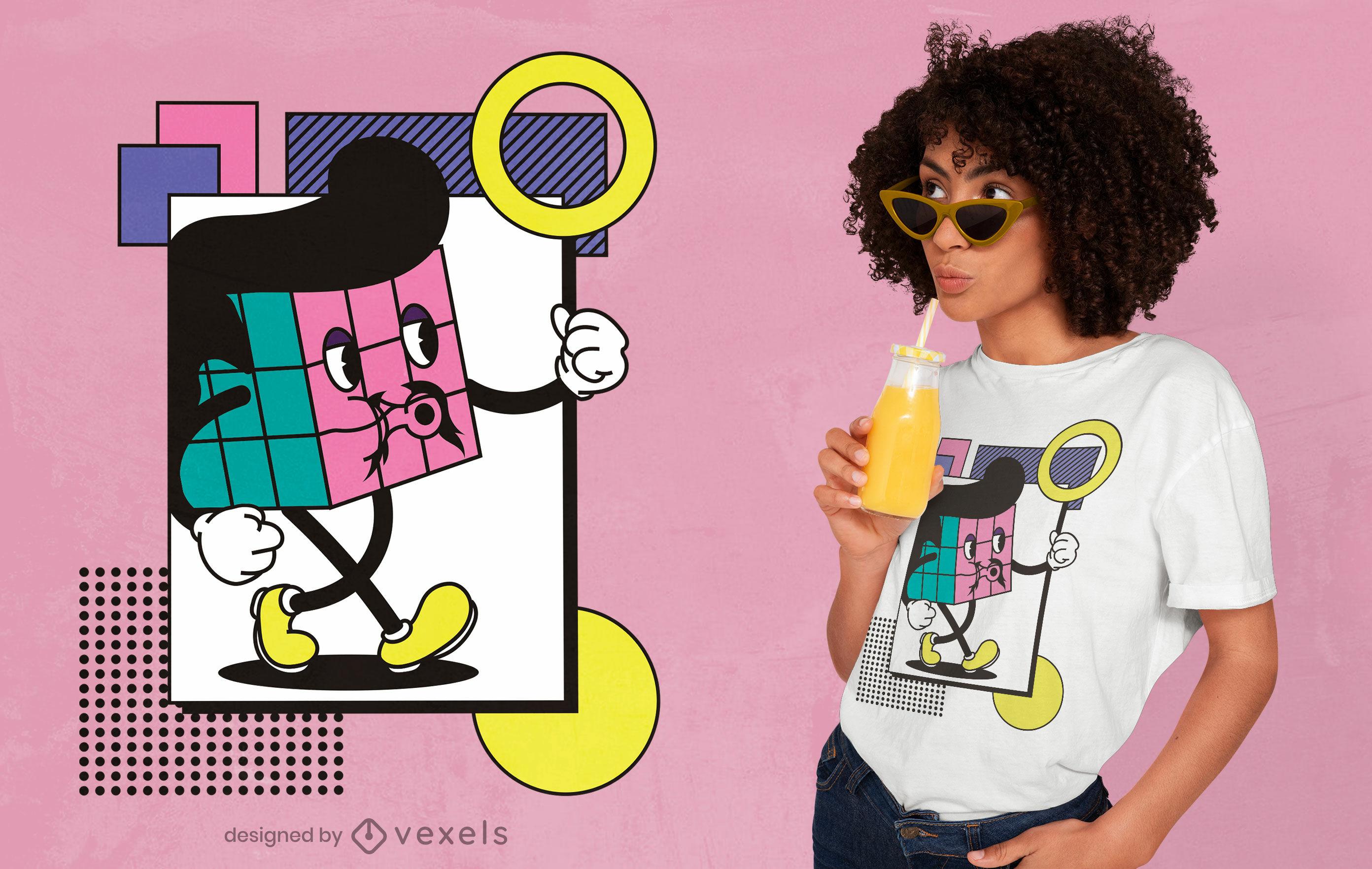Diseño de camiseta de dibujos animados retro cubo rubik