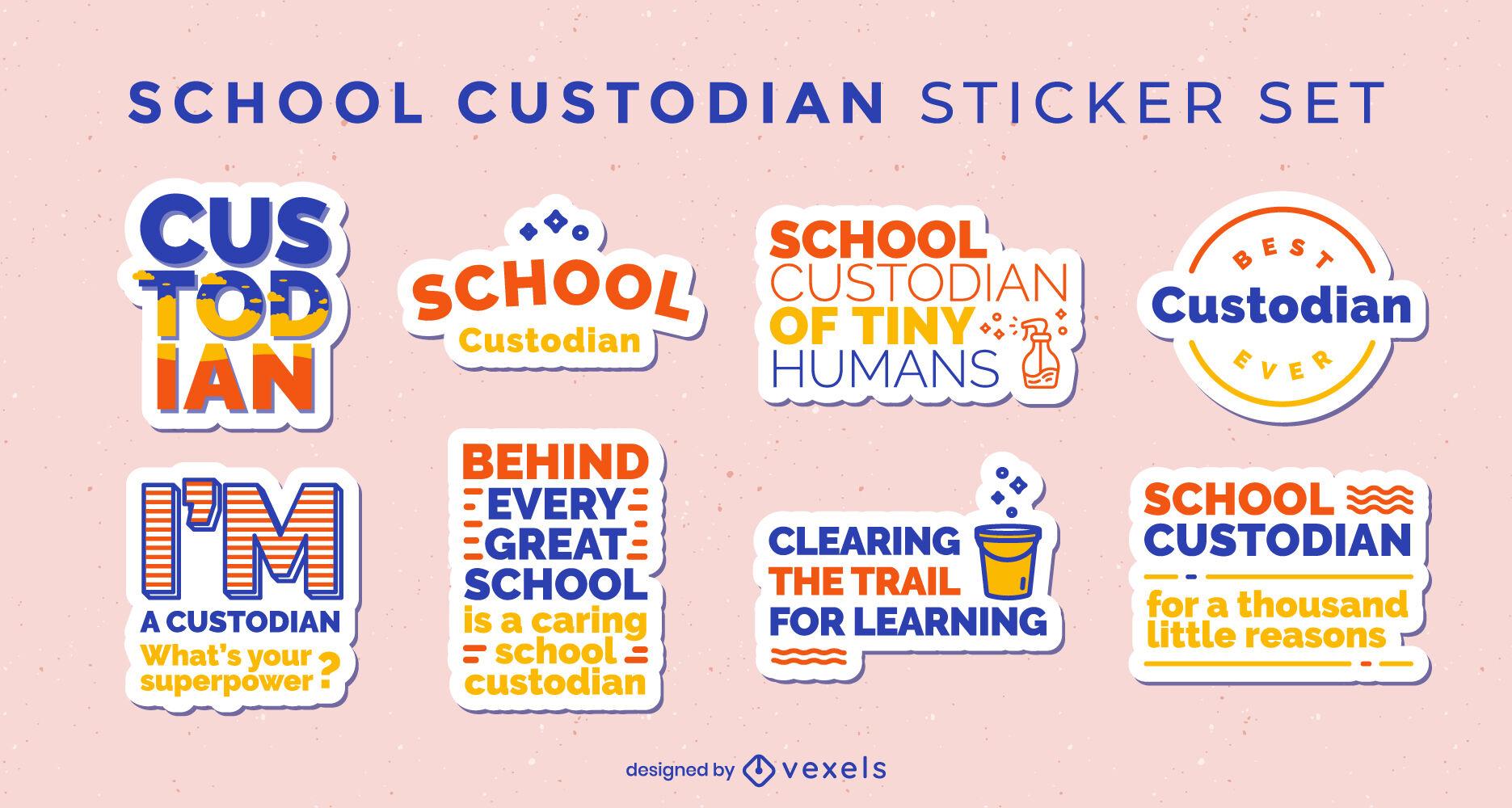 School custodian set of stickers