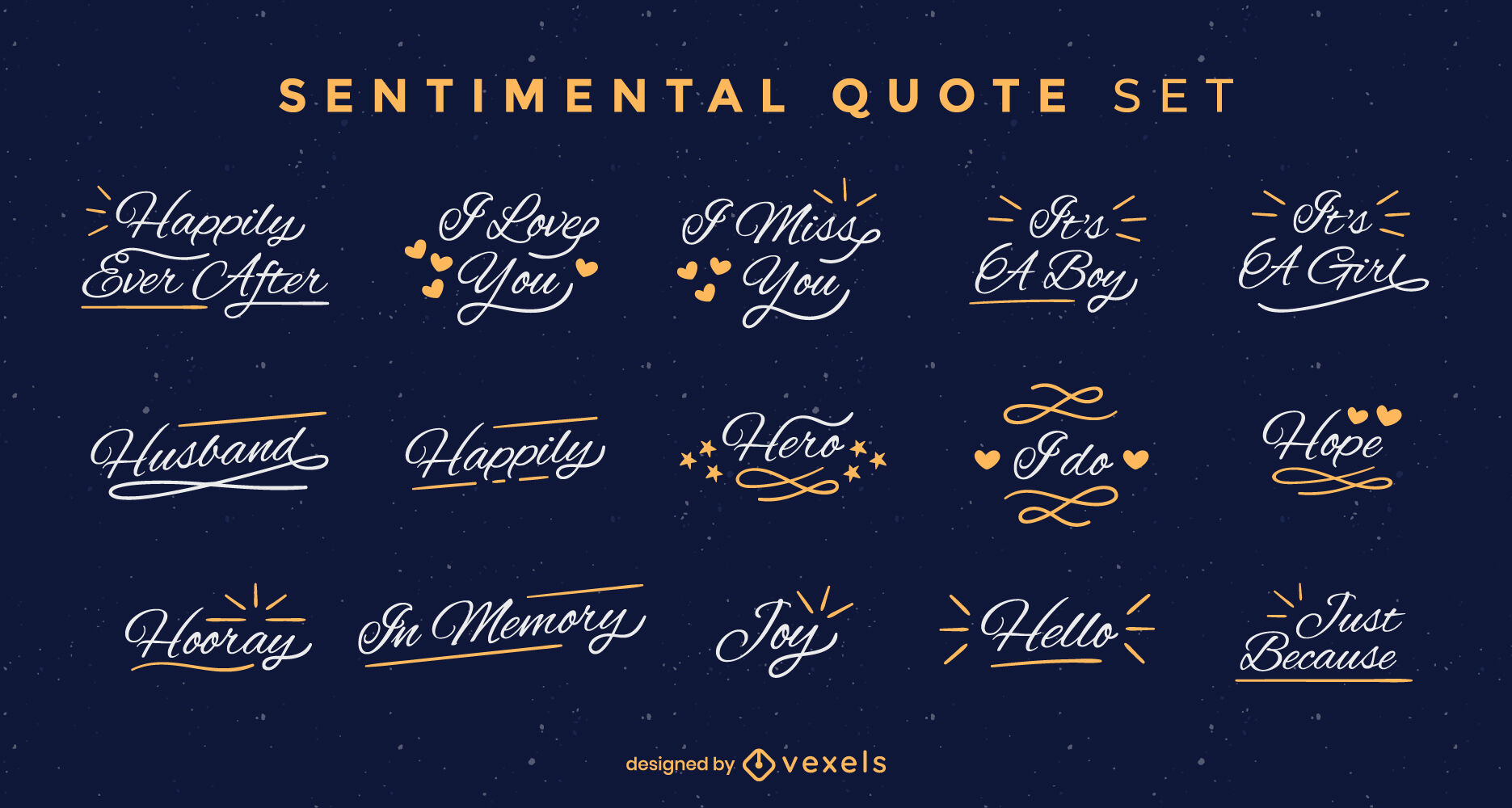 Emotional quotes lettering badge set