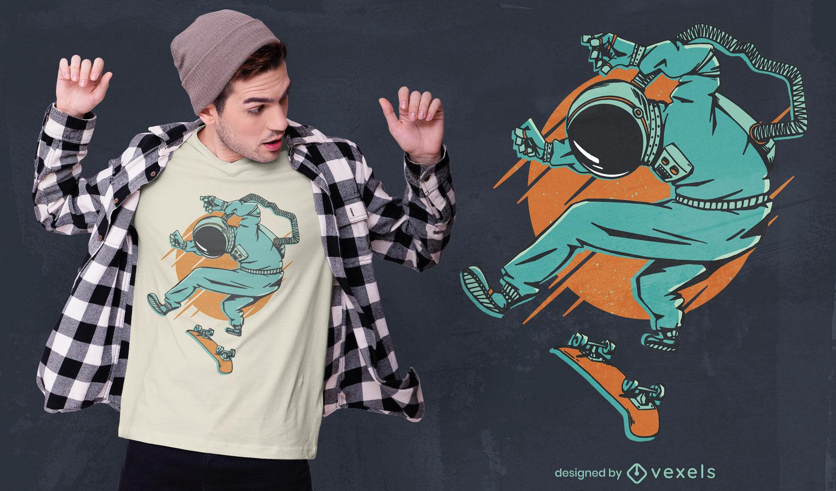 Astronauten-Skater-T-Shirt-Design