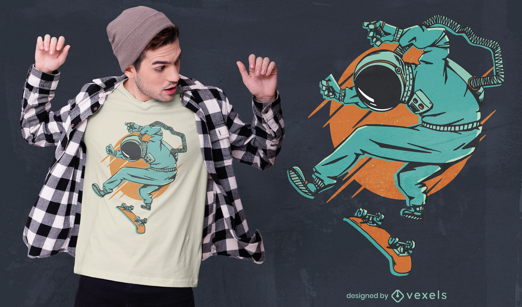 Diseño de camiseta astronauta skater.