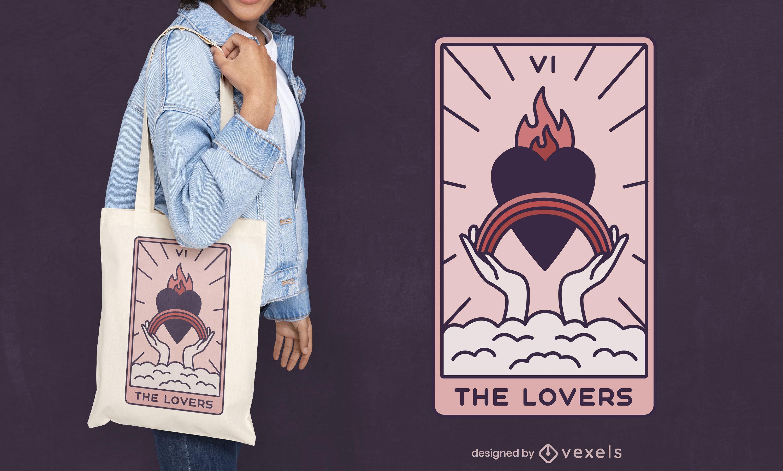 El diseño de la bolsa de asas de cartas del tarot de los amantes