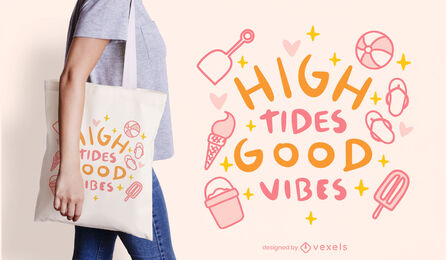 Summer elements quote tote bag design