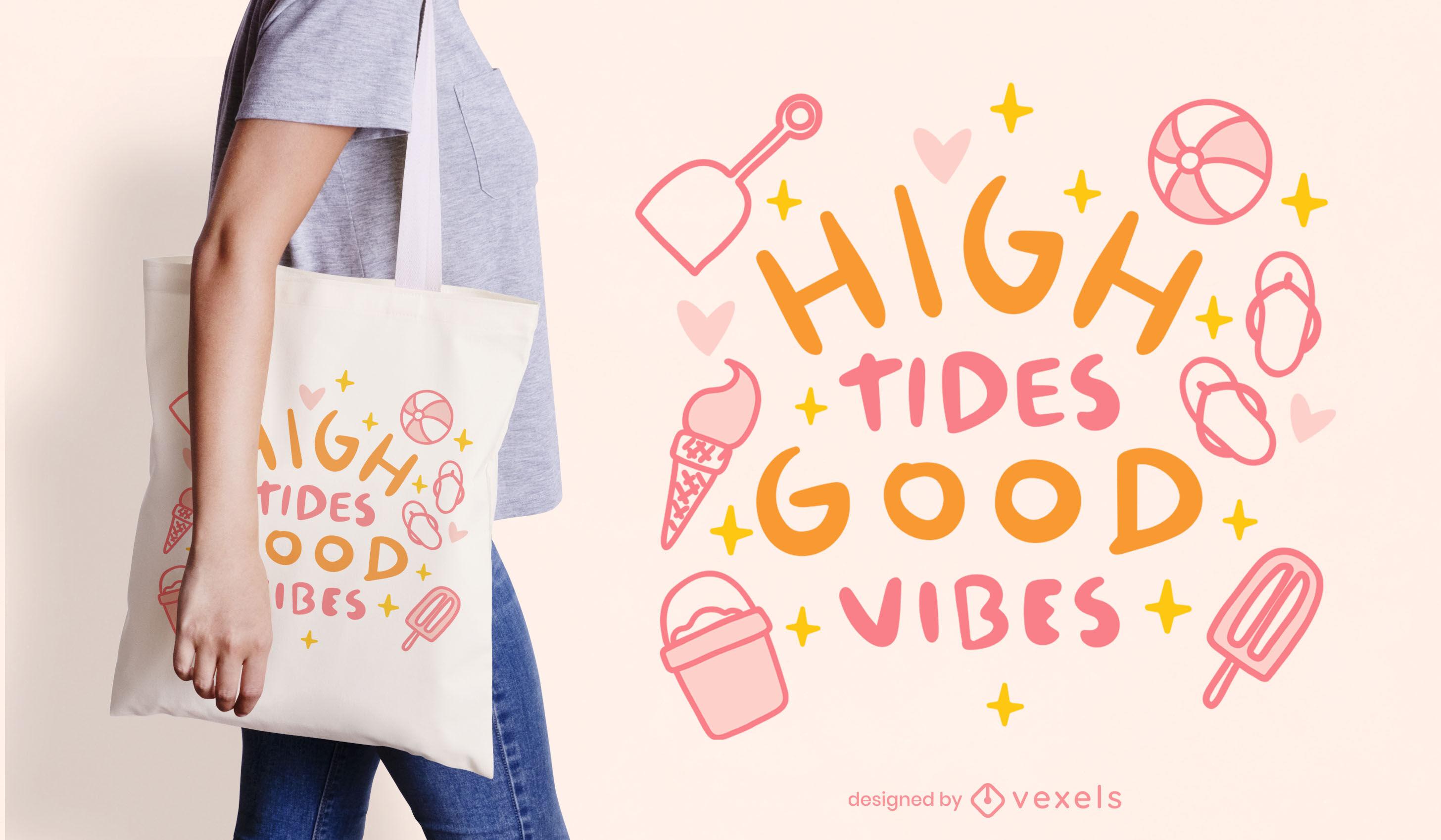 Diseño de bolso de mano con cita de elementos de verano