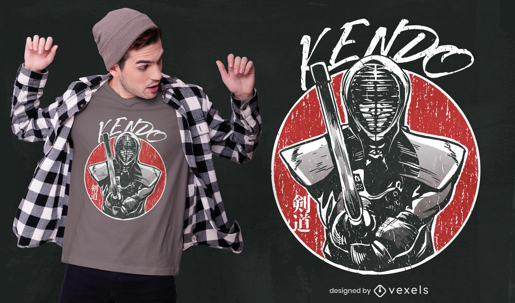 Diseño de camiseta con textura de luchador de kendo