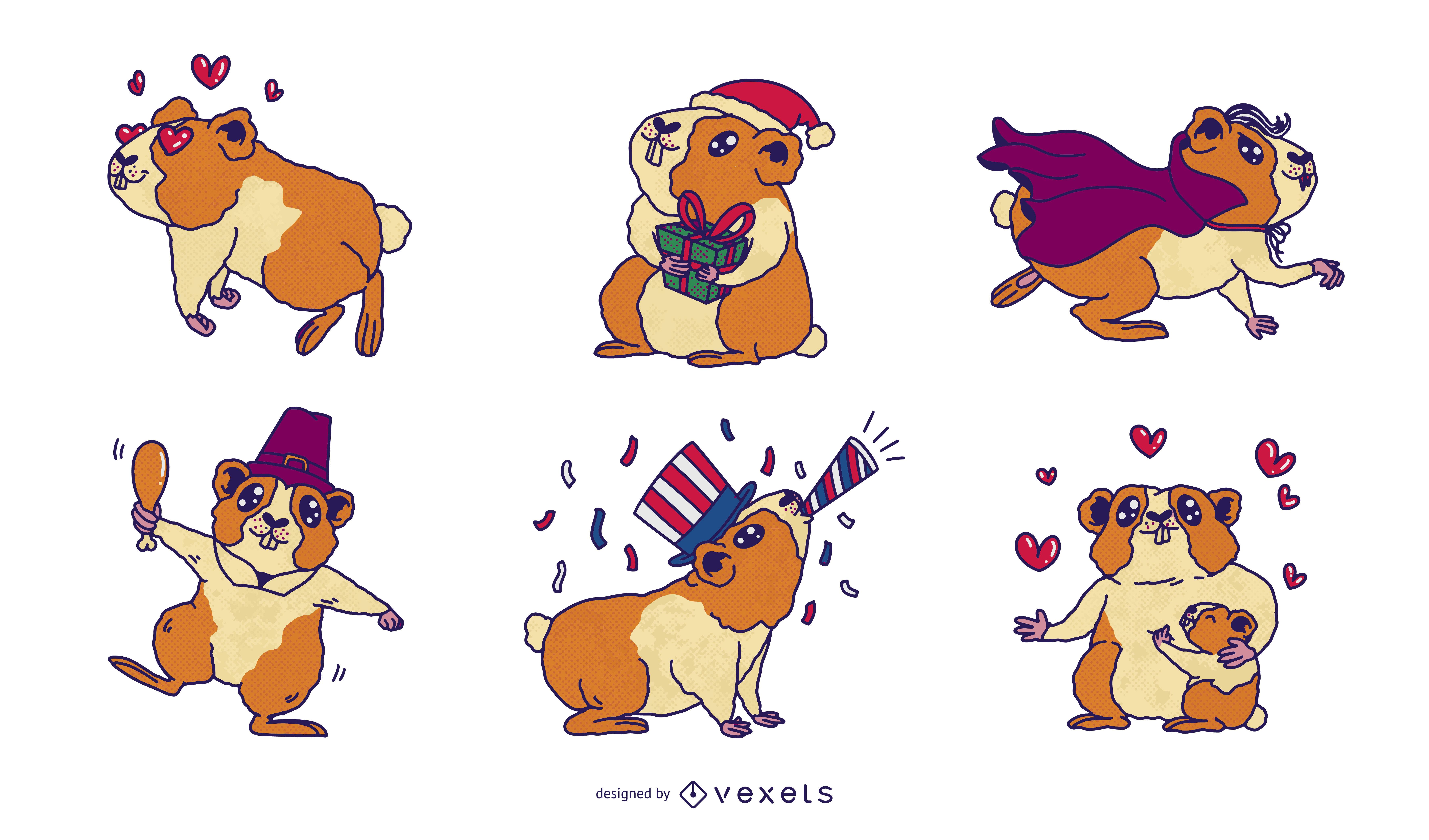 Guinea pigs seasonal holidays cute set