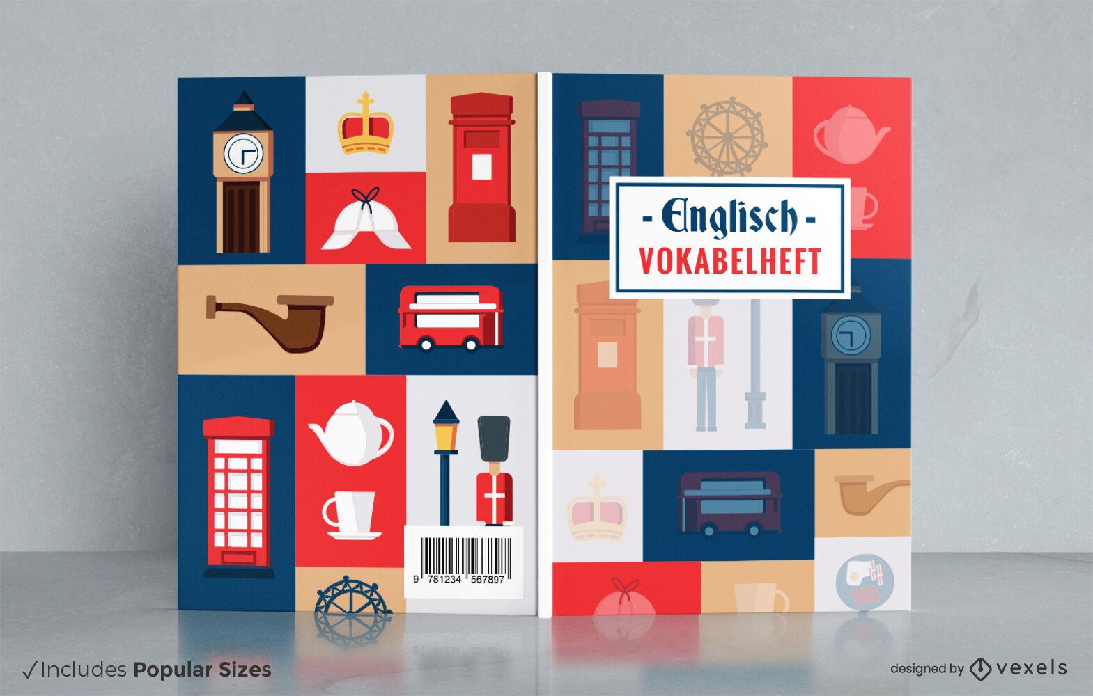 Diseño de portada de libro de elementos británicos tradicionales