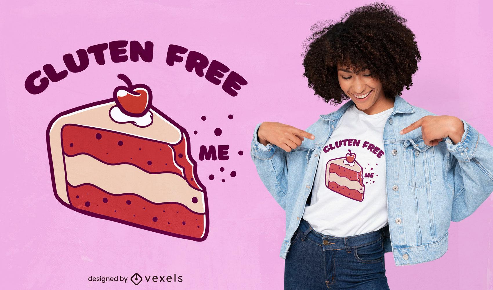 Cherry cake slice sweet food t-shirt design