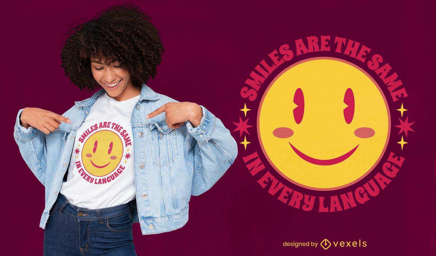 Cute flat smile quote t-shirt design