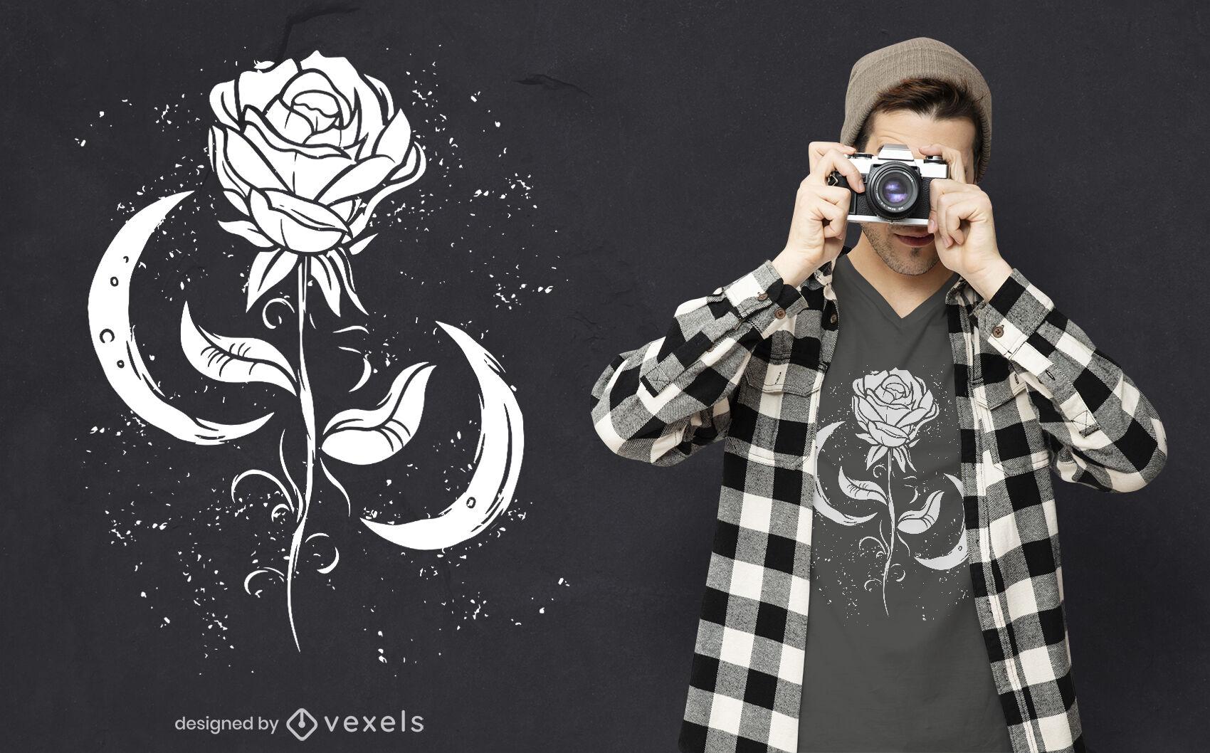 Design de camiseta romântica com rosa e lua