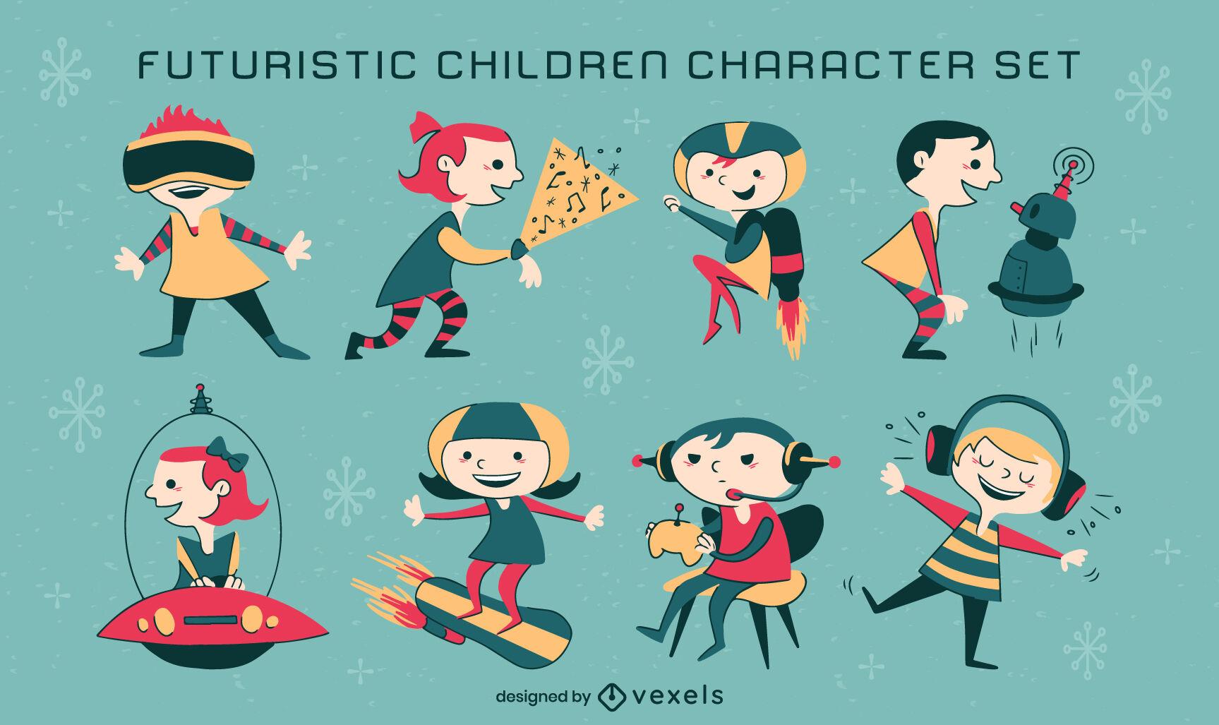 Children futuristic retro cartoon set