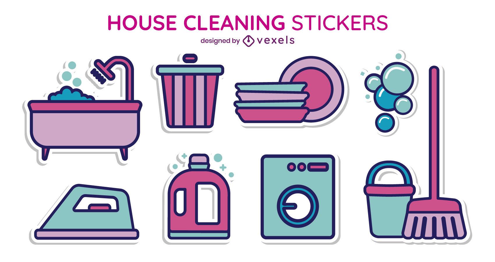 Set de pegatinas de productos de limpieza para el hogar.