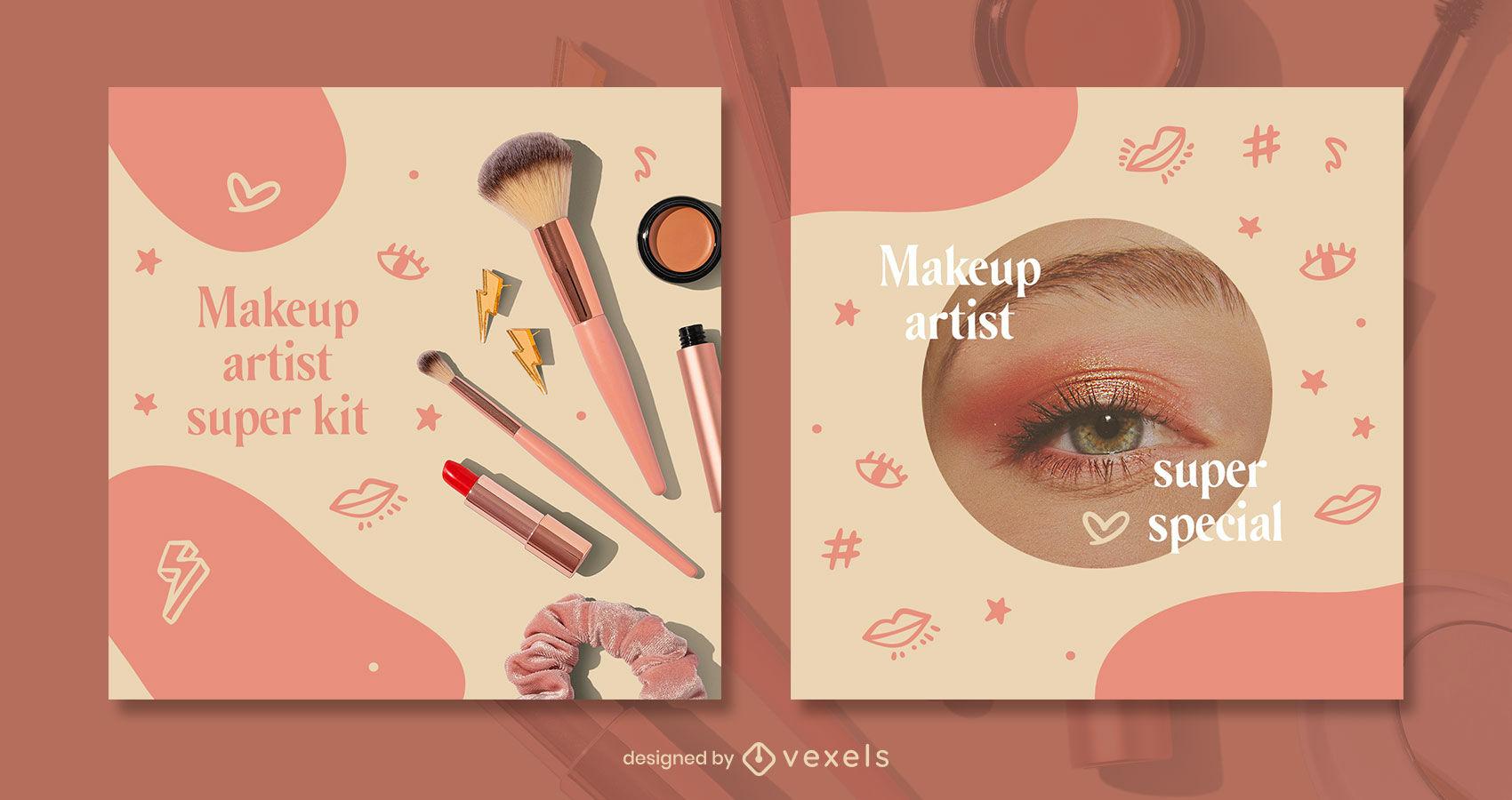 Plantilla de publicaci?n de instagram de belleza de doodle de maquillaje