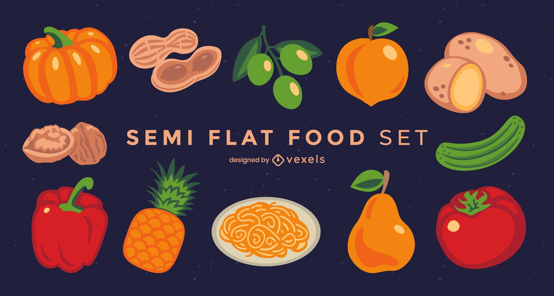 Conjunto de ingredientes y alimentos semi planos.