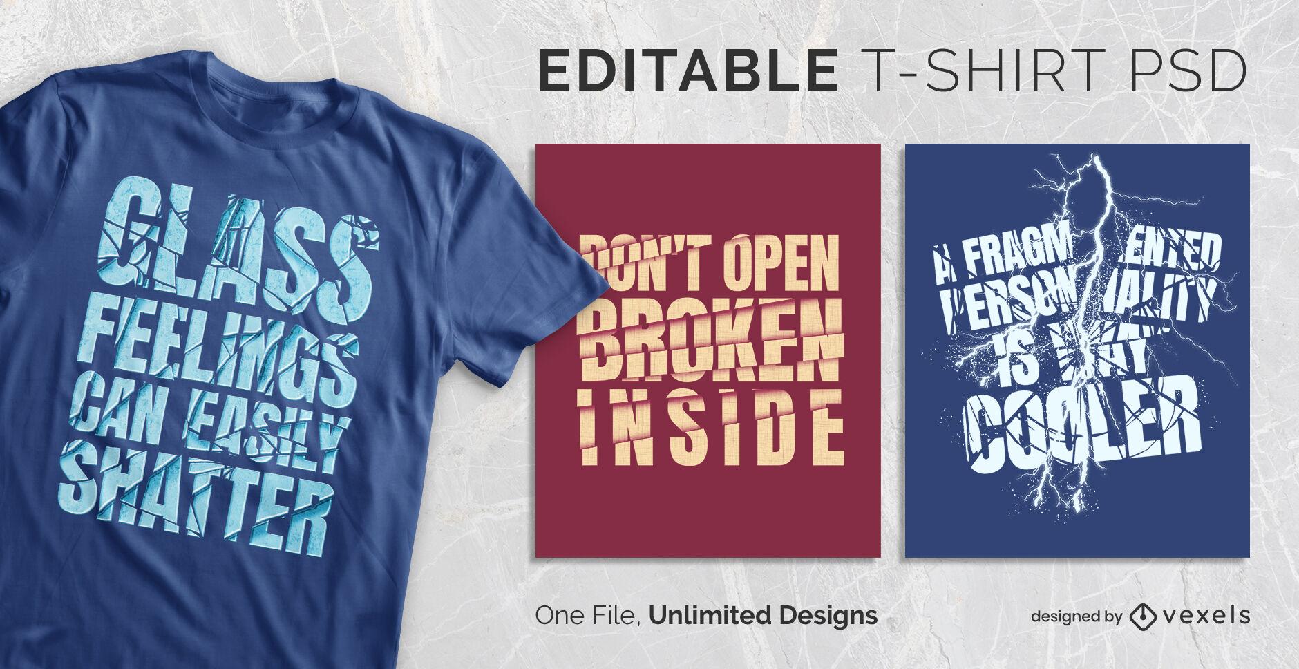 Dise?o de camiseta psd escalable de vidrio roto