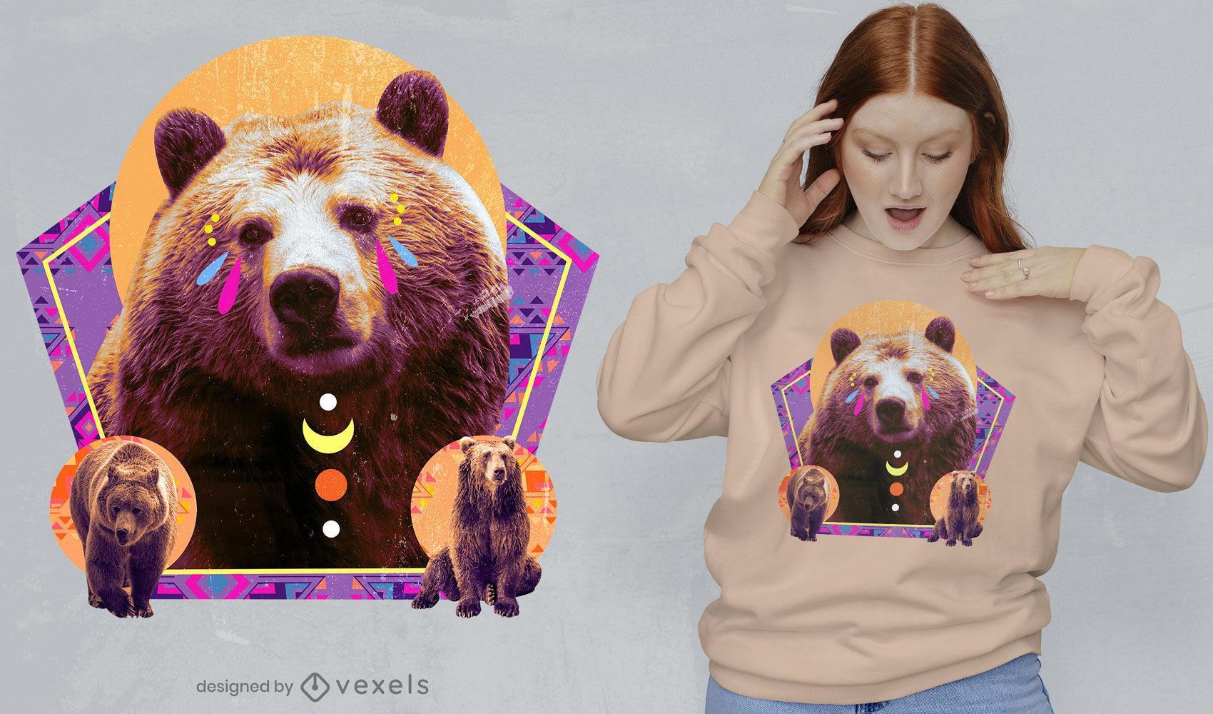 Suporte com elementos geométricos design de t-shirt psd