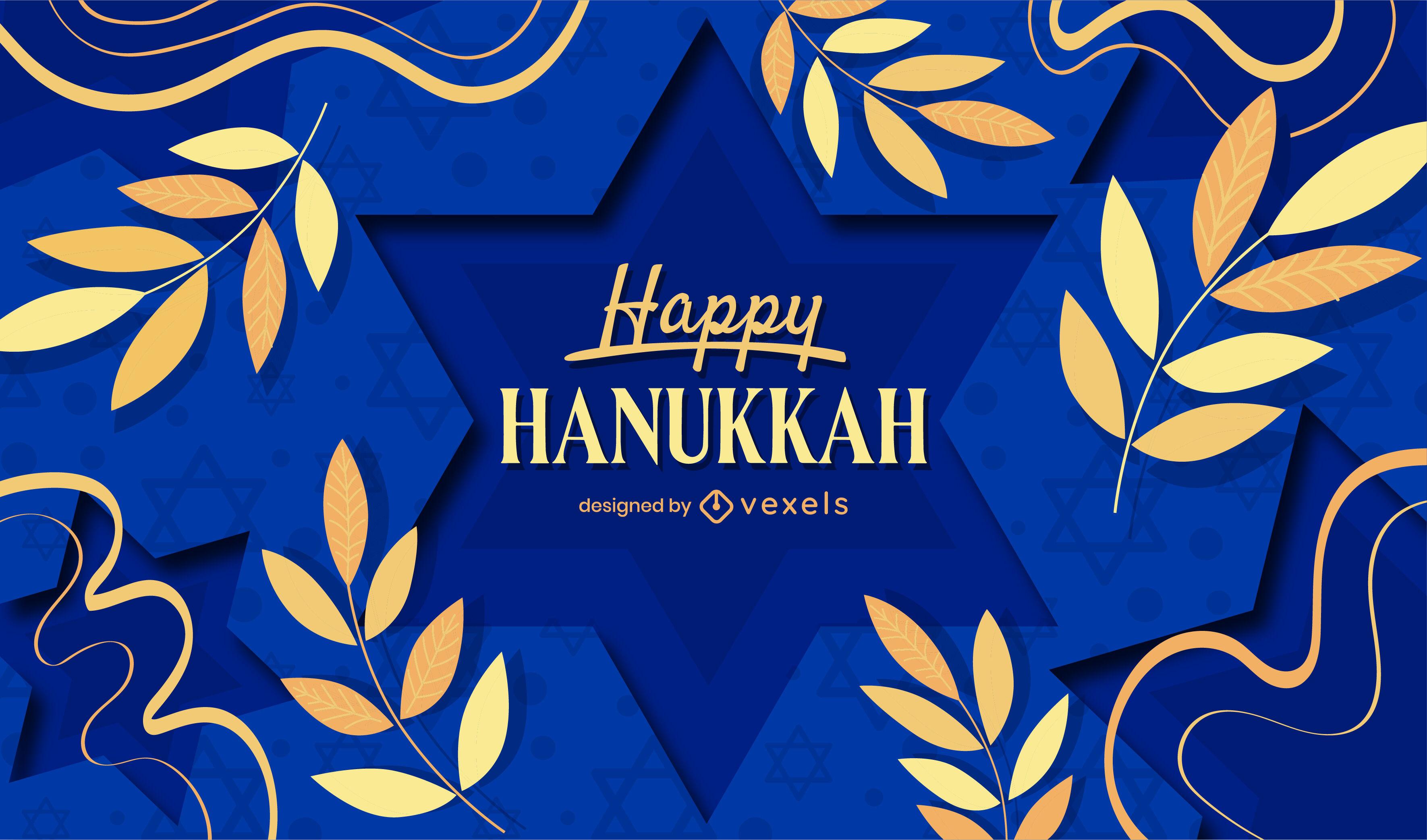 Feliz hanukkah fundo de papel cortado