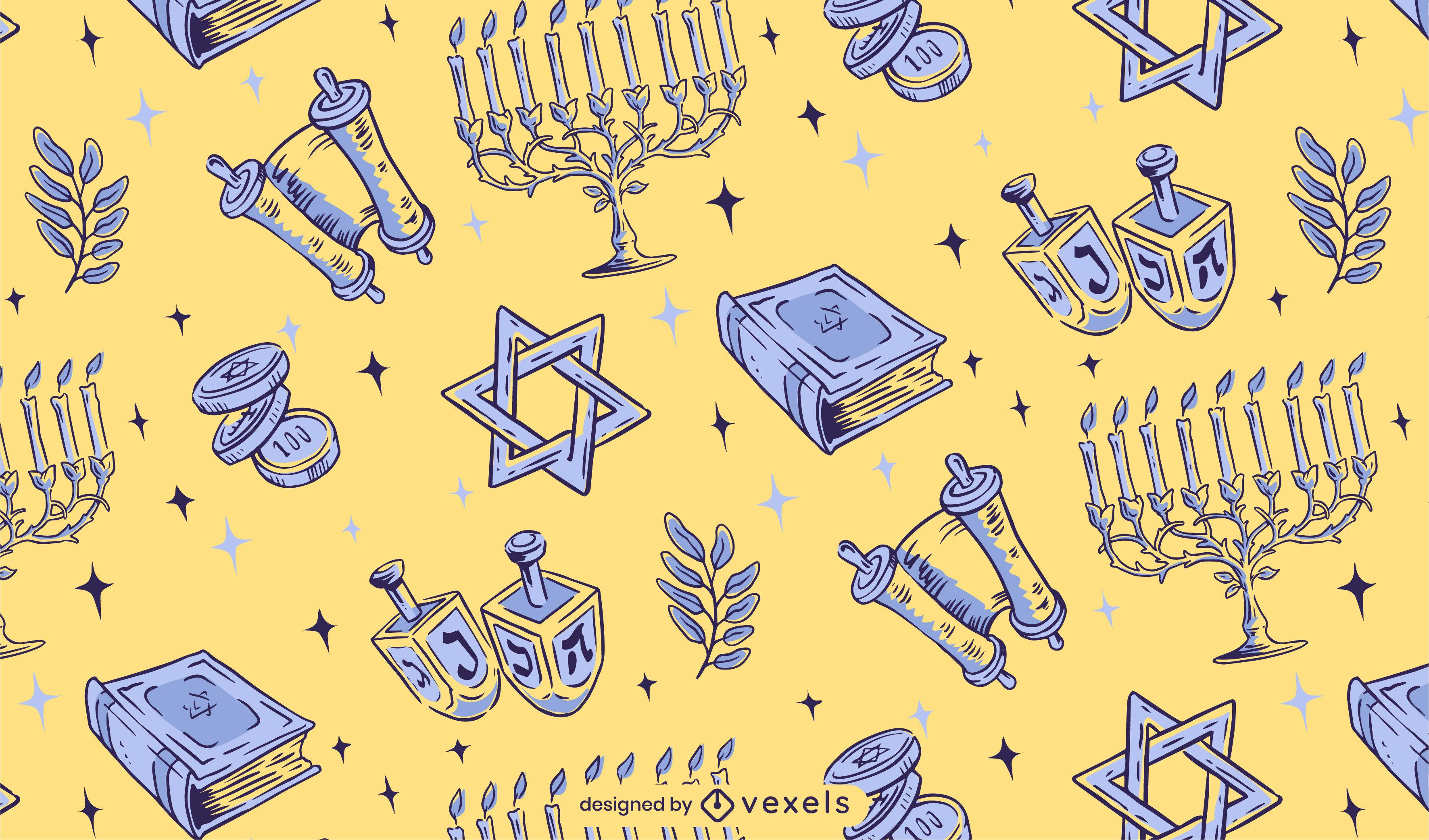 Hanukkah illustration pattern